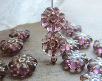 Czech Glass Daisy Bead Amethyst Gold Inlay 8mm QTY 15