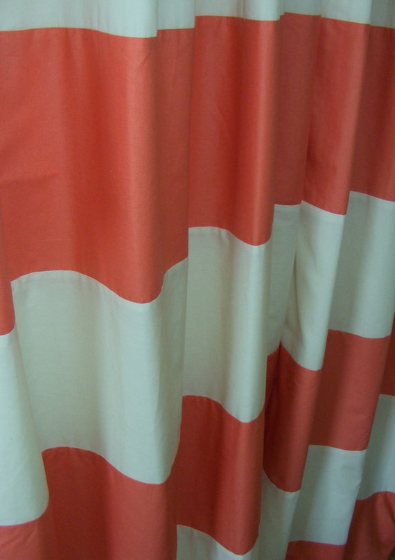 Baby bedding drapery nursery curtain panels coral and cream fully