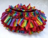 A Beautiful Parley Ray Rainbow Birthday All Around Ruffled Skirt Baby Bloomers/ Diaper Cover / Photo Props