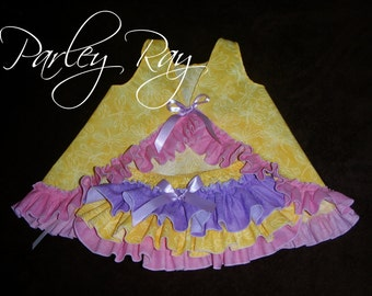 Beautiful Parley Ray Yellow, Pink & Lavender Spring Pinafore Dress with Ruffled Baby Bloomers/ Ruffle Diaper Cover