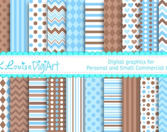20 Digital Papers Blue and Brown Patterned Backgrounds for Personal and Small Commercial Use a152