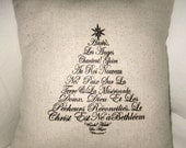 French Christmas Pillow, Cotton, Hand Sewn with French Words, Typography, Holiday Cushion, Hark the Herald Angels Sing