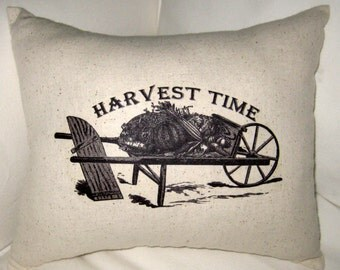 Fall Pillow, Harvest Time Shabby Chic Pillow, French Country Decor, Thanksgiving Cushion, Fall Home Decor, Holiday, Neutral, Autumn