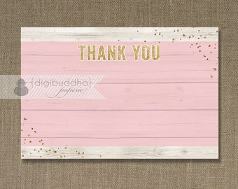 Boho Chic Gold Glitter Wood Thank You Card INSTANT DOWNLOAD 4x6 Pink Rustic Woodgrain Faux Bois Blank 4x6 Fill-In Thanks DIY- Shelly Style