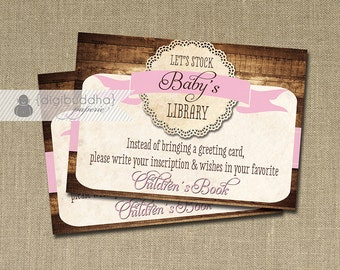 Stock The Library INSTANT DOWNLOAD Baby Shower Insert Enclosure Card Lace Rustic Wood Shabby Chic Girl Pink Printable DIY - Tracey Style