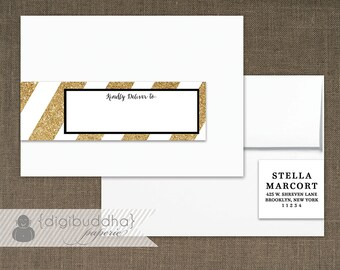 Gold Glitter Striped Envelope Wrap Address Label Black & White Printable Classic Glam PDF Pink Wraparound DIY Address Labels - Stella