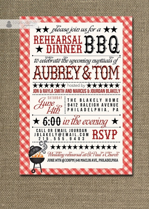 BBQ Rehearsal Dinner Invitation Country by digibuddhaPaperie