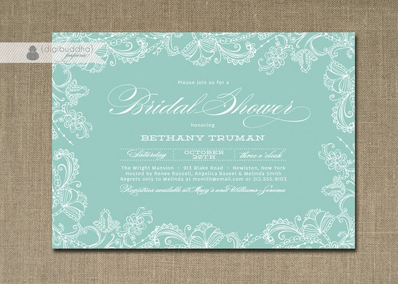 Lace Bridal Shower Invitation Blue Slate Soft Baby Blue Classic ...