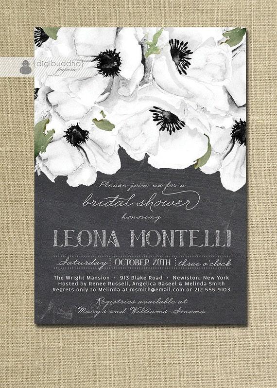 Chalkboard Floral Bridal Shower Invitation Black White – Black and White Wedding Shower Invitations