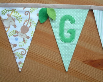 Jungle personalised bunting, name banner. Baby. Monkey print. Felt leaves. Made to order.