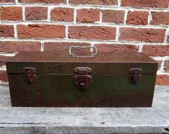Vintage Metal Tool Box Painted Green Metal Industrial Tool Caddy