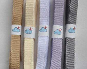 Woven grosgrain ribbon, nude colour set, 15m (16 yards), neutral ribbon,