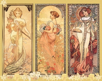 Art NOUVEAU ART Print Poster is FABULOUS Alphonse Mucha named Seasons in Art Nouveau Style