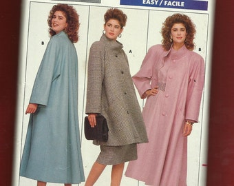 Vintage 1987 Butterick 5760 Flared Raglan Sleeve Coat Standing Collar & Loose Fitting  Sizes 12-14-16