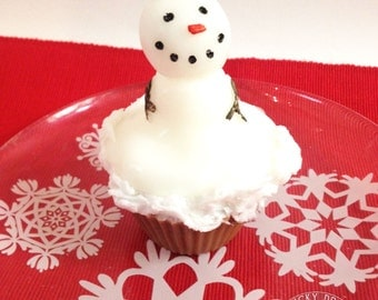Snowman Soap Cupcake, Christmas and Holiday