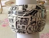 Broken Vintage China Teacup Bangle Paris Plein Aire Street Scene Bracelet