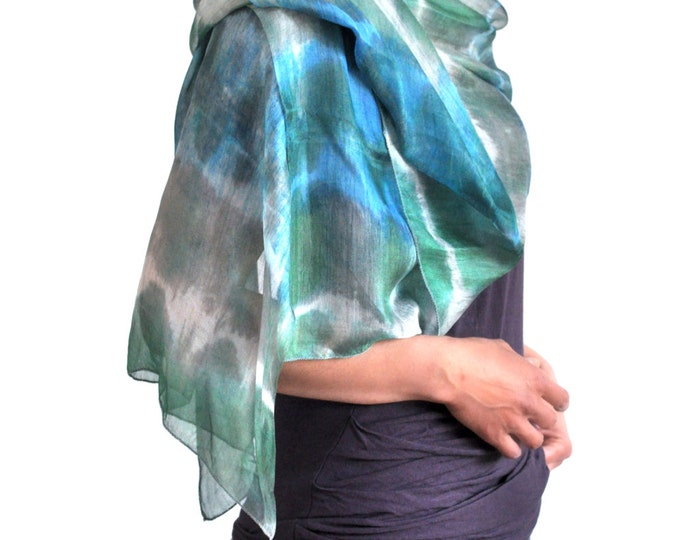 Caspian Mist Ikat Silk Scarf - 6012. Free Shipping on orders 100 dollars and up (USA). Coupon Code: USFREESHIPPING