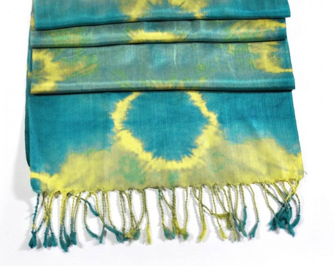 Corona Blue Ikat Silk Scarf - 6008a. Free Shipping on orders 100 dollars and up (USA). Coupon Code: USFREESHIPPING