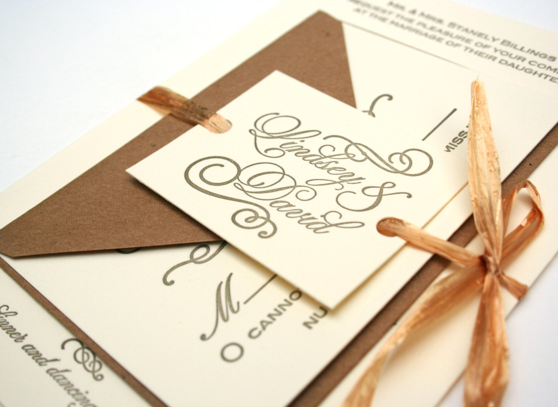 Letterpress Printing Wedding Invitations: Gold Calligraphy Letterpress Printed Wedding Invitation: Kraft