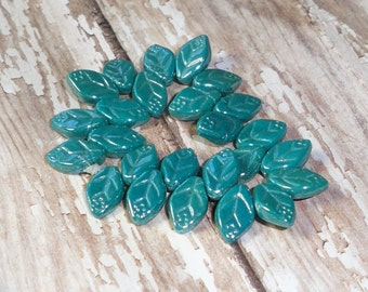 Turquoise Leaves 12x7mm Czech Glass Carved Luster TWILIGHT (20)