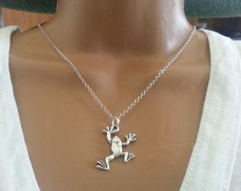 Antique Silver Frog Necklace