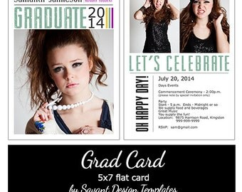 "Senior Grad Announcement 5x7 Template Card  ""Let's Celebrate"""