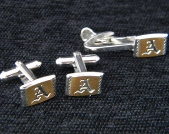 Vintage Hickok cuff link and tie clasp initial A
