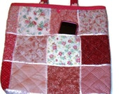 Pink Quilted Tote patchwork with pink handles, ribbon, snap closure and 3 pockets