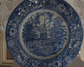 Two Vintage Collectible Colonial Liberty Blue Dinner Plates Staffordshire-- Independence Hall