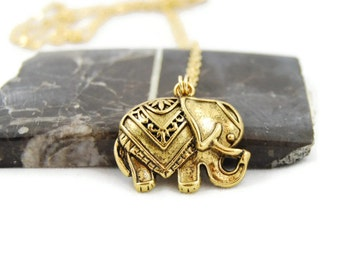 Elephant Necklace, Gold, 16 Inch, Chain, Elephant Jewelry, Gift, Wisdom, Simple, Everyday