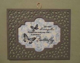 Butterfly Caterpillar Hanging Wall Accent Decor Sign Inspirational
