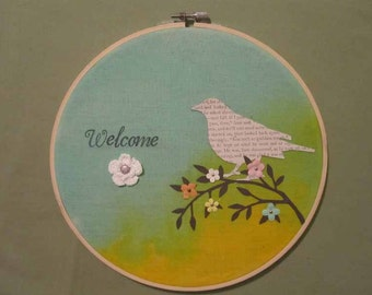 Fabric on Embroidery Hoop Welcome Hanging Sign with Bird on Branch