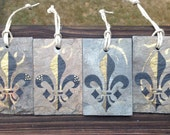 Fleur De Lis Ornament on Recycled New Orleans Roofing Slate