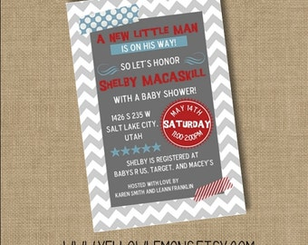 chevron simple zigzag baby shower invitation (digital file only)