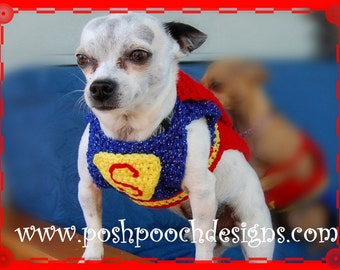 Super Dog Pet Costume -  Small Dog Costume- Superman Dog Sweater