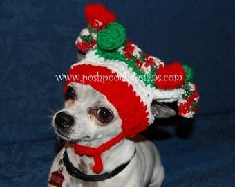 Christmas Dog Hat - Jester Dog Hat - Pom pom Dog Hat   - Small dogs 2-15 lbs