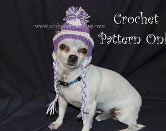 Instant Download - Crochet Pattern Earflap Dog hat Small Dog Beanie