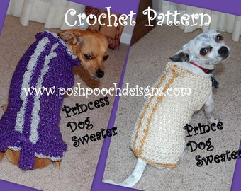 Instant Download Crochet Pattern- Princess and Prince Dog Sweaters - Small Dogs 2-20 lbs