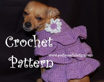 Instant Download Crochet Pattern- Ruffles Dog Sweater Dress - Small Dog Sweater 2-20 lbs