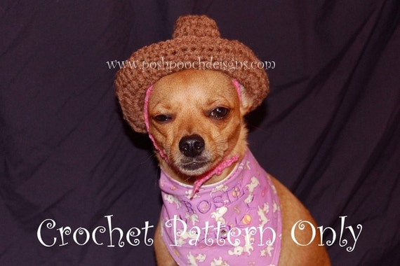 Instant Download Crochet Pattern - Cowboy Hat for Small Dogs - Small Dog Hat
