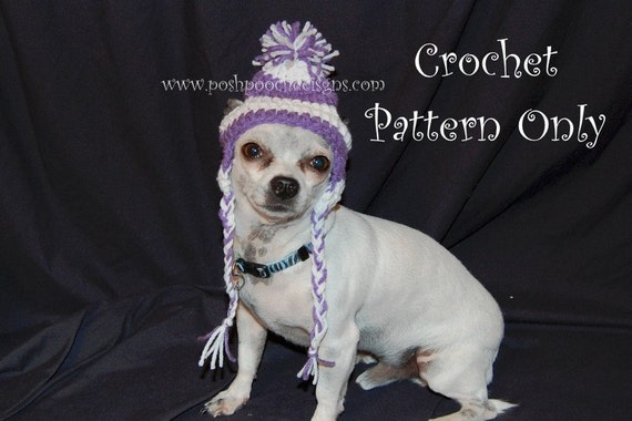 Crochet Pattern For Dog Hat With Ear Holes : Instant Download Crochet Pattern Earflap Dog hat Small Dog