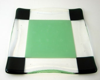 Ruffled Fused Glass Plate with Green Squares