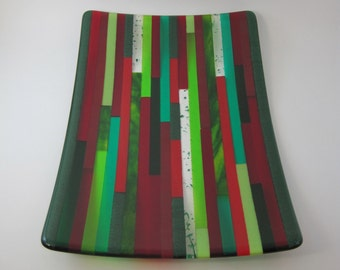 Red and Green Holiday Striped Fused Glass Plate