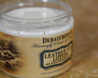 Leather Sea Lotion Salty sea air, brine coated wood, algae.