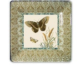 Butterflies decorative plate for cottage decor - decoupage wall hanging