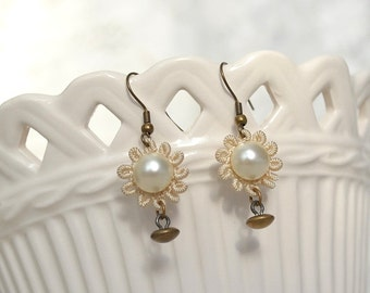 Vintage Button and Tatted Lace Earrings