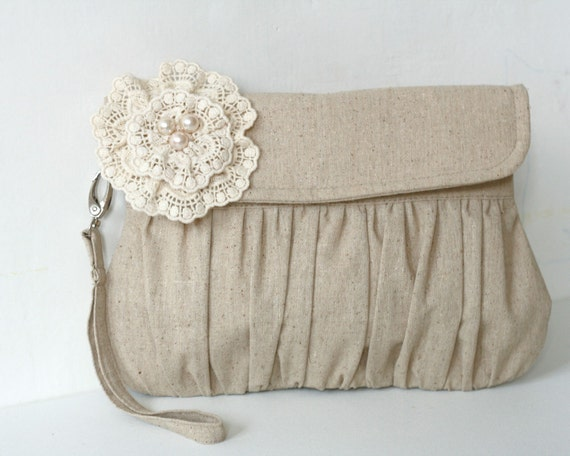 Rustic wedding clutch - wedding clutch - bridesmaid clutches - linen and lace