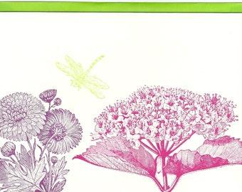 Green Dragonfly Blank Card, Letterpress