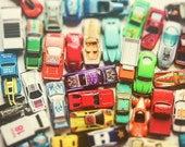 Traffic Jam Vintage Toy Cars Race Cars Boys Decor Rainbow Colors Retro Hipster Style Decor Green Yellow, Fine Art Photograph