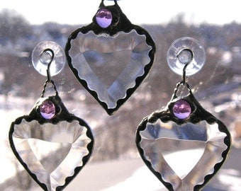 February Birthstone Heart|Stained Glass Suncatcher|Amethyst Gem|Amethyst|Art & Collectibles|Glass Art|Suncatchers|Handcrafted|Made in USA